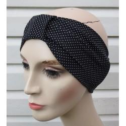 Stirnband Damen Sommer Schwarz Weiß gepunktet aus Jersey genäht. Partnerlook im Shop. Farbe, KU 54-62 cm