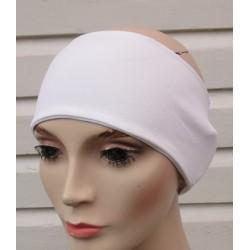 Stirnband Sport Weiß für Damen aus Jersey genäht. Auch mit Mittelteil. Partnerlook im Shop. Farbe, KU 54-62 cm