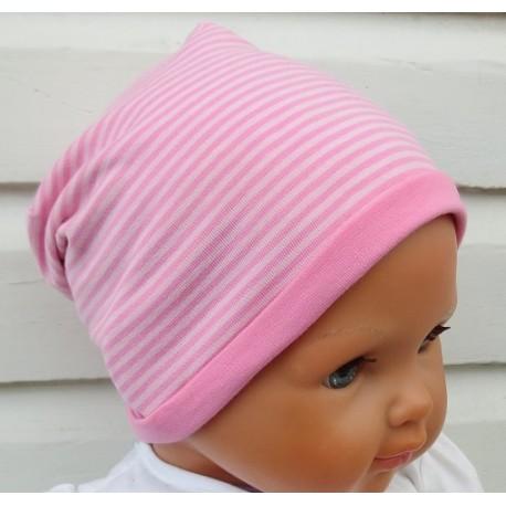 Beanie Mütze Mädchen aus Jersey Rosa geringelt zum Wenden genäht. Partnerlook im Shop. Handarbeit. KU 39-55 cm