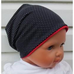 Beanie Mütze Mädchen wunderschön mit Pünktchen aus Jersey genäht. Damen Partnerlook im Shop. Farbe, KU 39-55