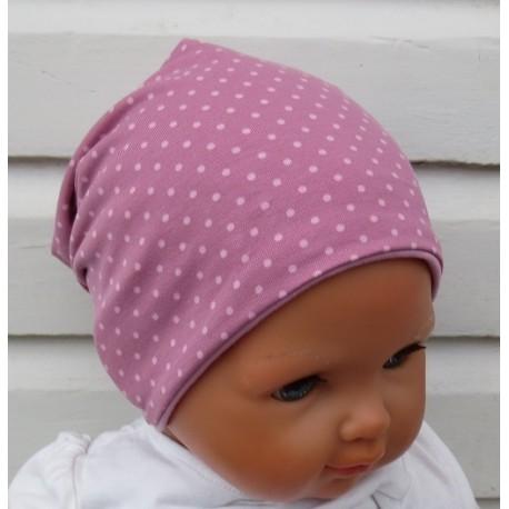 Beanie Mütze Baby Mädchen Altrosa Punkte zauberhaft zum Wenden aus Jersey genäht. Handmade. KU 39-55 cm