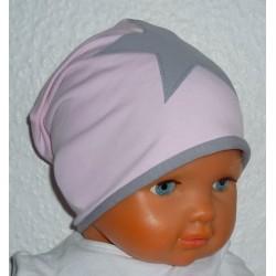 Beanie Mütze Baby Mädchen Stern Sommer Winter Rosa, Grau aus Jersey zum Wenden genäht. Farben, KU 39-55 nach Wunsch