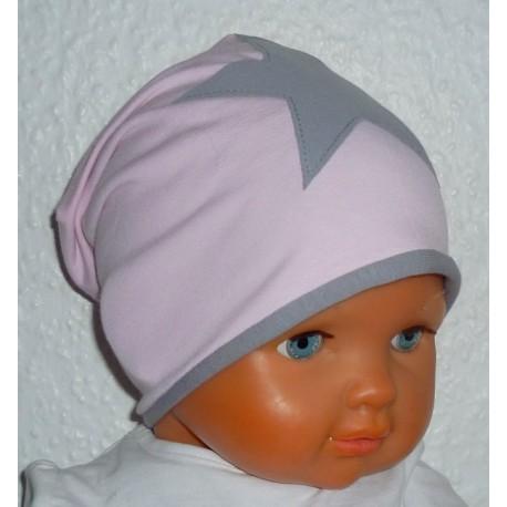 Beanie Mütze Kinder Stern Rosa Grau zum Wenden aus Jersey genäht. Modisch als Long auch mit Fleece. Farben, KU 39-55 cm