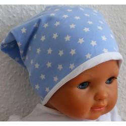Sommermütze Kinder Sterne Jungen in Blau Weiß genäht. Modisch als Long Beanie. Farbe, KU 39-55 nach Wunsch