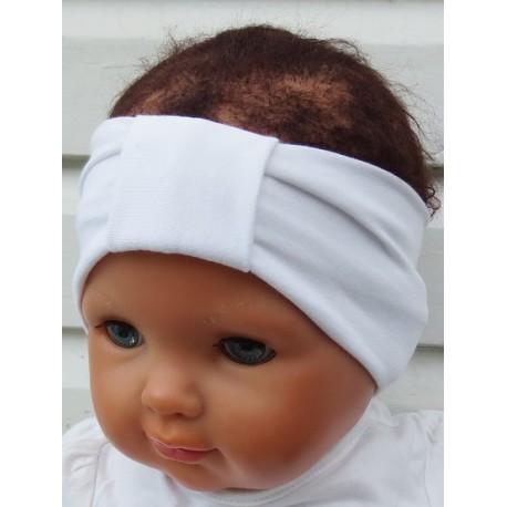 Stirnband Sommer Weiß Mädchen Kinder Baby aus Jersey genäht. Handarbeit. Partnerlook im Shop. Farbe, KU 36-55
