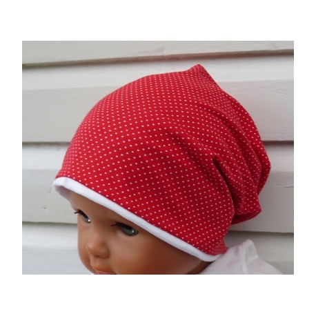 Kinder Mütze Mädchen Long Beanie Punkte Rot Weiß aus Jersey genäht. Hübsch auch mit Fleece. Farbe, KU 39-55 cm