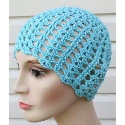 Beanie Mütze Damen Blau Sommer mit Muster aus Baumwolle gehäkelt. Leicht und bezaubernd. Farbe, KU 54-62