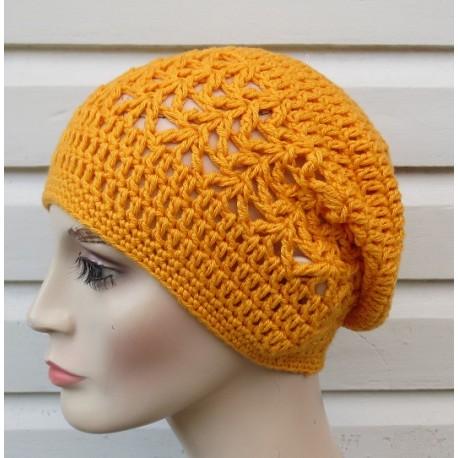 Häkelmütze Sommer Damen Beanie Gelb aus Baumwolle gehäkelt. Modisch als Long. Viele Farben, KU 54-62 cm