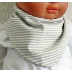 Baby Dreieckstuch Mädchen Beige Ringel mit Druckknopf genäht. Toll für Kids. Farbe, Größe bis ca. 8 Jahre