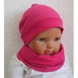 Beanie Mütze Kinder Set für Mädchen mit Schlupfschal gepunktet aus Jersey genäht. Auch mit Fleece. Farbe, KU 39-55