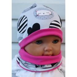 Beanie Mütze Kinder Mädchen Set mit Halssocke aus Jersey genäht. Fürs ganze Jahr. Farbe, KU 39-55 cm