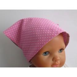 Kopftuch Mädchen Sommer Grau Rosa mit Punkten aus Baumwolle zum Wenden genäht. Farbe, KU 41-55 cm