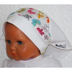 Kopftuch Baby Kinder mit Schmetterlingen Weiß aus Baumwolle Jersey genäht. Zauberhaft. KU 41-55 cm