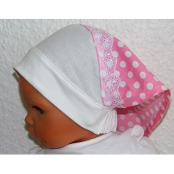 Kopftuch Baby Kinder Sommer Mädchen Punkte Spitze aus Baumwolle genäht. Zauberhafte Handarbeit. Farbe, KU 41-55