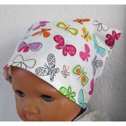 Kopftuch Baby Mädchen Sommer Baumwolle Weiß Bunt genäht. So hübsch für Kinder. KU 41-55 cm