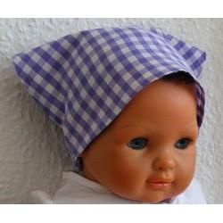 Kopftuch Baby Mädchen Sommer luftig in Flieder kariert aus Baumwolle genäht. Farbe, KU 41-55 cm