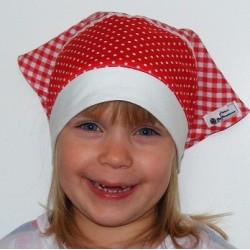 Kopftuch Mädchen Sommer Rot kariert mit Gummizug aus Baumwolle genäht. Romantisch. Farbe, KU 41-55 cm