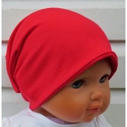 Jersey Mütze Kinder Kleinkind als Long Beanie Rot genäht. Zum Wenden auch mit Fleece. Farbe, KU 39-55 nach Wunsch
