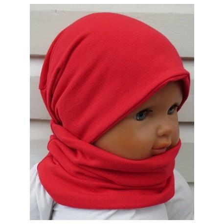 Mütze Schal Set Kinder Mädchen mit Long Beanie Jersey Rot genäht. Zum Wenden fürs ganze Jahr. Farbe, KU 39-55