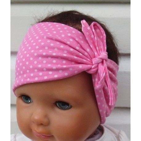 Stirnband Baby Jersey Sommer mit Punkten genäht. Dazu finden Sie ein Dreieckstuch, eine Sommermütze im Shop. KU 36-55