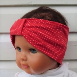 Stirnband Baby Mädchen Sommer Rot Weiß Punkte aus Jersey genäht. Zauberhaft für Kinder. Farbe, KU 36-55 cm