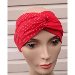 Stirnband Turban Look Knoten Rot Punkte Sommer aus Jersey genäht. Sehr schön. Farbe, KU 54-62 cm