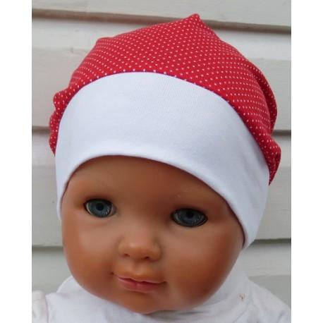 Sommermütze Kinder Mädchen niedlich Punkte Rot Weiß aus Jersey genäht. Ein Stirnband, Tuch im Shop. KU 39-55