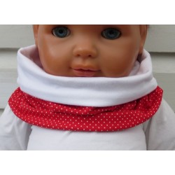 Loop Schal Kinder Mädchen Halssocke Rot Weiß Punkte aus Jersey genäht. Fürs ganze Jahr. Farbe, KU 39-55