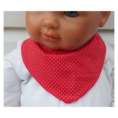 Halstuch Baby Mädchen Rot Weiß Punkte aus Jersey zum Wenden genäht. Zauberhaft für Kinder. Farbe, 0-8 Jahre.