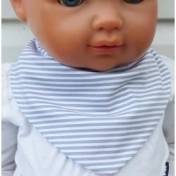 Halstuch Kinder Mädchen Grau geringelt mit Rosa aus Jersey zum Wenden genäht. Mit Druckknopf, Klettverschluß. 0-6/8 J.