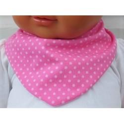 Dreieckstuch Baby Spucktuch Mädchen Rosa Punkte aus Jersey genäht. Zum Wenden. 0-6/8 Jahre