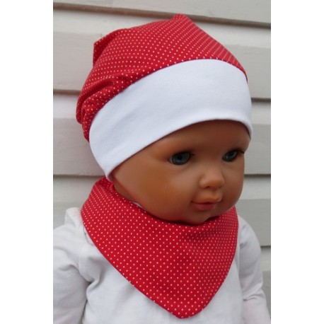 Sommermütze Kinder Mädchen Set Punkte Rot Weiß aus Jersey genäht. Mit Tuch. Farbe, KU 39-55 cm
