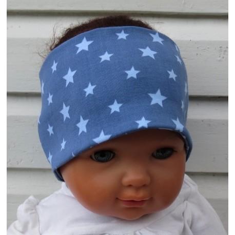 Stirnband Junge Sommer Blau mit Sternen zum Wenden aus Jersey genäht. KU 36 - 55 cm nach Wunsch