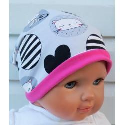Long Beanie Mütze Kinder Mädchen Pink Grau aus Jersey zum Wenden genäht. Fürs ganze Jahr. Farbe, KU 39-55