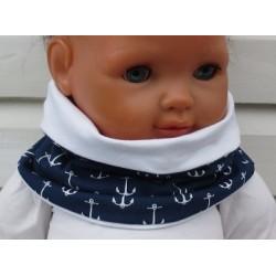 Halssocke Kinder Kleinkind Blau Weiß Anker Junge aus Jersey zum Wenden genäht. Cool für Jungs. KU 39-55 cm