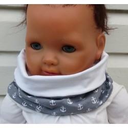Halssocke Kinder Anker für Jungen Grau Weiß zum Wenden aus Jersey genäht. Fürs ganze Jahr, Farbe, KU 39-55