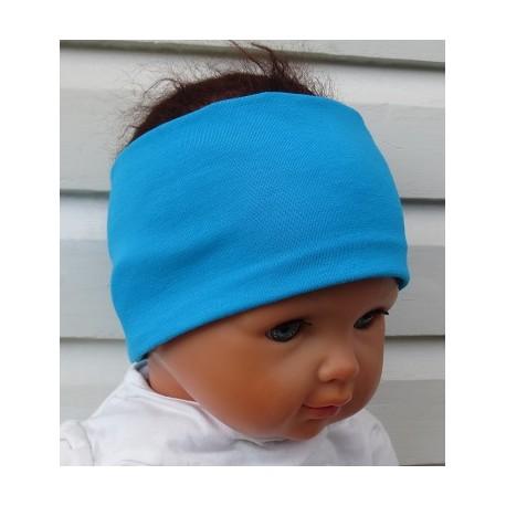 Stirnband Kinder Jungen Jersey Türkis zum Wenden genäht. Cool für Jungs. Handarbeit. Farbe, KU 39-55 cm