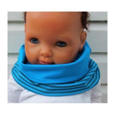 Halssocke Kinder Jungen Streifen Jersey Türkis Blau genäht. Eine Long Beanie, ein Stirnband im Shop. KU 39-55