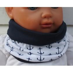 Kinder Schal Junge Anker Weiß Blau zum Wenden aus Jersey genäht. Eine Wende Long Beanie im Shop. KU 36-55