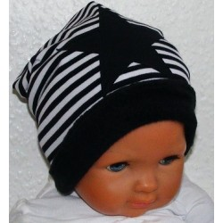 Wintermütze Kinder Stern Jungen cool Schwarz Weiß aus Jersey genäht. Als Long Beanie. KU 39-55 cm nach Wunsch