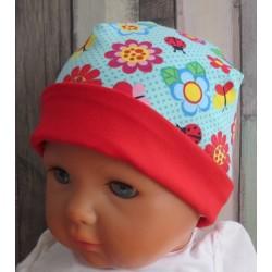 Sommermütze Baby Mädchen Rot mit Blumen Bunt aus Jersey genäht. Für größere Kinder im Shop. Farbe, KU 36-47 cm