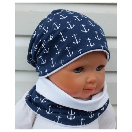 Winterset Kinder Jungs Long Beanie Schal Anker Blau Weiß aus Jersey genäht. Fürs ganze Jahr. Farbe, KU 39-55 cm