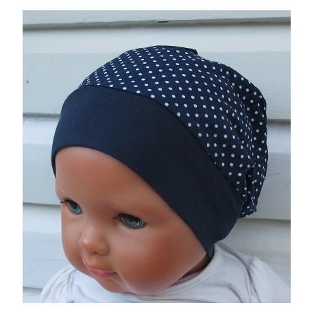 Sommermütze Baby Punkte Mädchen zauberhaft Blau Weiß genäht. Aus Baumwolle mit Jerseybund. Farbe, KU 39-55