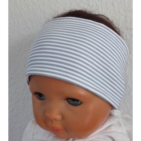 Haarband Jungs Sommer Sport Grau Weiß gestreift aus Jersey genäht. Toll zum Wenden. Farbe, KU 36-55 nach Wunsch