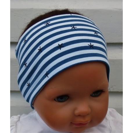 Stirnband Kinder Junge Sport Streifen aus Jersey Jeansblau mit Motiv genäht. Zum Wenden. KU 36-55 cm
