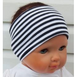 Haarband Kinder Sport Jungen Jersey Streifen Weiß Schwarz genäht. Zum Wenden. Farbe, KU 36-55 cm