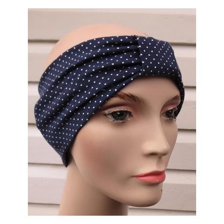 Stirnband Damen Sommer Blau Weiß Punkte aus Jersey genäht. Partnerlook im Shop. Farbe, KU 54-62 cm