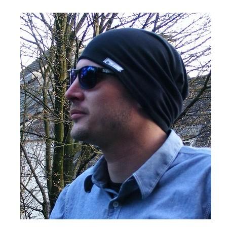 Herren Mütze Beanie Jersey Schwarz zum Wenden genäht. Als Slouch Long. Fürs ganze Jahr. 54-65 cm