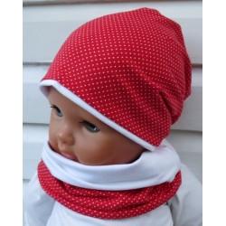 Beanie Mütze Kinder Set Mädchen mit Pünktchen Rot Weiß aus Jersey genäht. Mütze und Loop. Farbe, KU 39-55