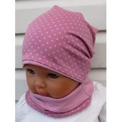 Beanie Mütze Baby Set Mädchen Altrosa Punkte zauberhaft aus Jersey 2-teilig genäht. Fürs ganze Jahr. KU 39-55